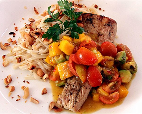 BBQ Mahi Mahi with Mango Avocado Salsa on Ricenoodles in a Cilantro Lime Marinade