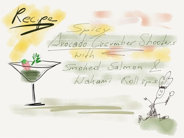 Recipe Spicy Acocado Cucumber Shooters with Smoked Salmon Wakami Roll Ups